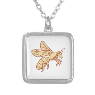 Bee Flying Mono Line Silver Plated Necklace