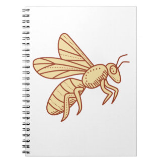 Bee Flying Mono Line Spiral Notebook