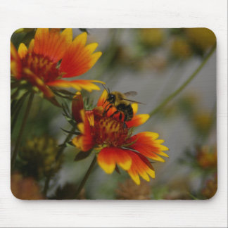 Bee foraging on a flower mouse pad