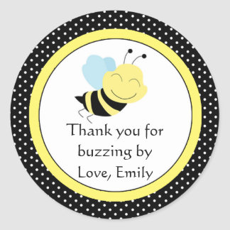 Bee Gender Reveal Baby Shower Labels Yellow Black