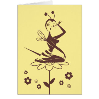 Bee Girl card by Miss Fluff