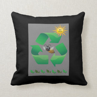 Bee Green - Cute Environmental Throw Pillow