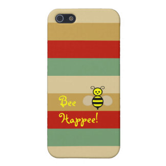 Bee Happee! Red Beige Green Stripe iPhone Case iPhone 5 Covers