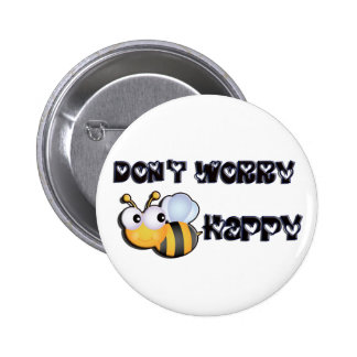 Bee Happy 2 Inch Round Button