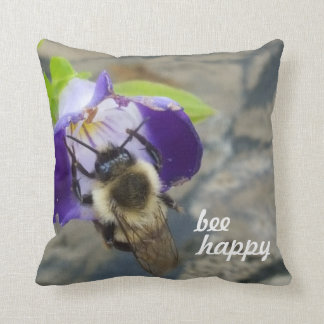 Bee Happy Bee And Flower Throw Pillow