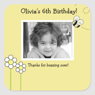 BEE HAPPY Bumble Bee Photo SQUARE Favor Sticker