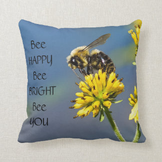 Bee Happy Bumble Bee Throw Pillow