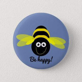 Bee Happy cartoon bee button badge