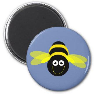 Bee Happy cartoon bee pattern blue B/G 2 Inch Round Magnet