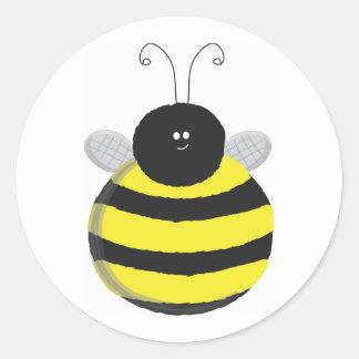 Bee Happy Chubby cute bee Classic Round Sticker