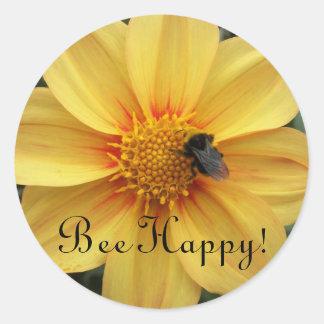 Bee Happy Floral Stickers Round Sticker