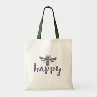 Bee Happy Modern Typography Design Tote Bag
