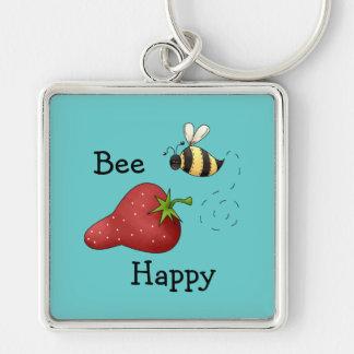 Bee Happy Strawberry Print Art Keychain