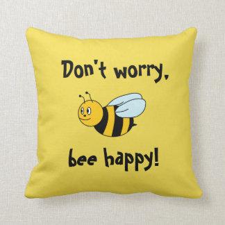 'Bee Happy!' Throw Pillow