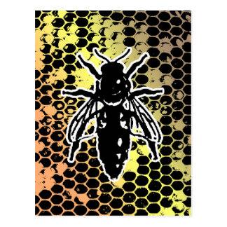 Bee Honeycomb Geometrical Postcard
