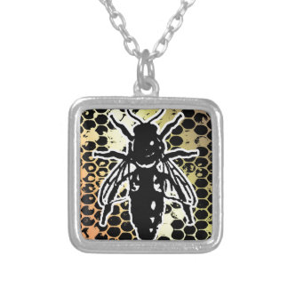 Bee Honeycomb Geometrical Silver Plated Necklace