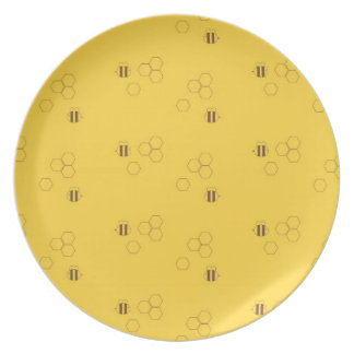 Bee Honeycomb Pattern Dinner Plate