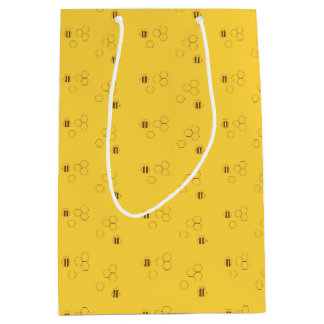 Bee Honeycomb Pattern Medium Gift Bag
