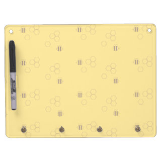 Bee Honeycomb Print Dry Erase Board With Keychain Holder