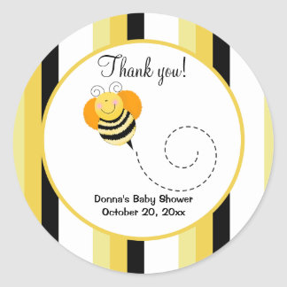 Bee Hop Bumble Bee Round Favor Sticker - Striped