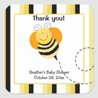 Bee Hop Bumble Bee Square Favor Stickers