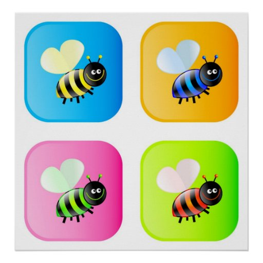 Bee Icons Poster