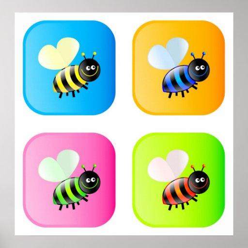Bee Icons Print