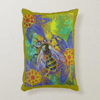Bee image mixed media art accent pillow