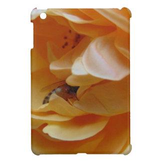 Bee In A Cream Colored Rose iPad Mini Covers