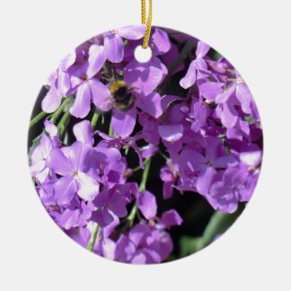 Bee in Summer Lilac at Erddig Hall Round Ceramic Ornament