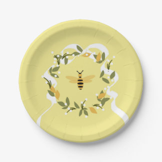Bee in Wreath Paper Plate