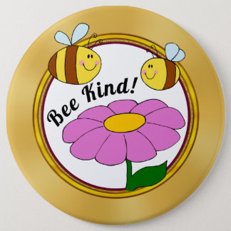 Bee Kind Pin with Cute Bumble Bees and Flower