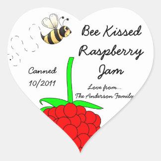 Bee Kissed Raspberry Jam Jar Label (Customize) Heart Sticker