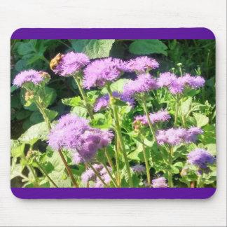 Bee & Light Purple Flowers with Purple Border Mouse Pad
