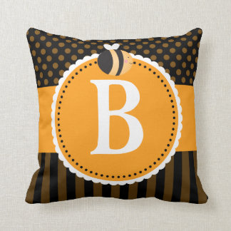 Bee Lover Monogram Cute Throw Pillow Gift