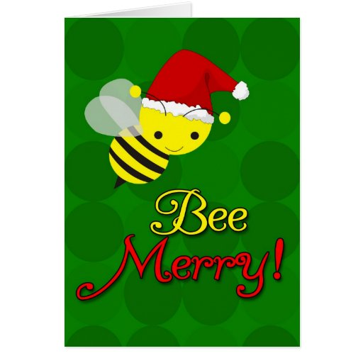 Bee Merry Cute Bumblebee Christmas Cards | Zazzle