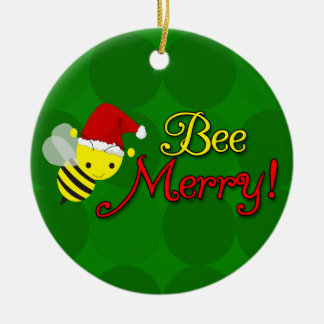 Bee Merry, Cute Bumblebee Holiday Ceramic Ornament