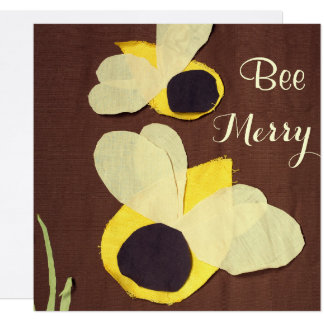 """Bee Merry"" happy honeybees Card"