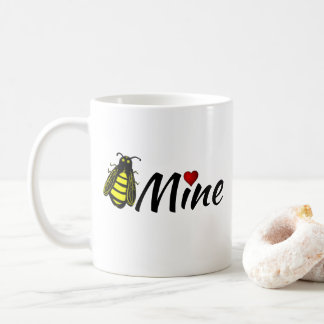 Bee Mine Cute Honeybee with Red Heart Valentine Coffee Mug