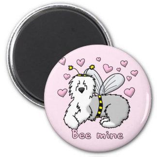 Bee Mine Old English Sheepdog 2 Inch Round Magnet