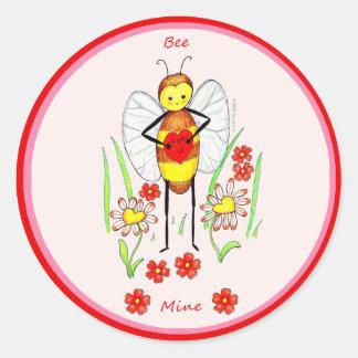 Bee Mine Valentine Classic Round Sticker