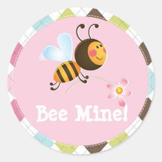 Bee Mine   Valentine's Day Classic Round Sticker
