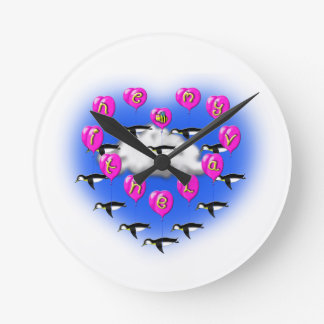 bee my valentine penguins round clock