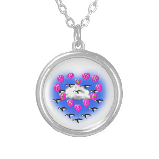 bee my valentine penguins silver plated necklace