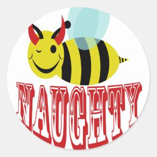 bee naughty classic round sticker