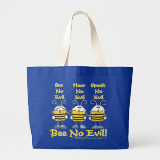 """Bee No Evil"" Bees Large Tote Bag"