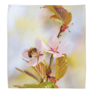 Bee On A Cherry Flower Bandana