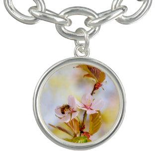 Bee On A Cherry Flower Bracelet