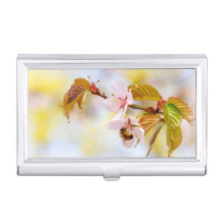 Bee On A Cherry Flower Business Card Holder