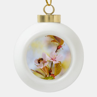 Bee On A Cherry Flower Ceramic Ball Christmas Ornament
